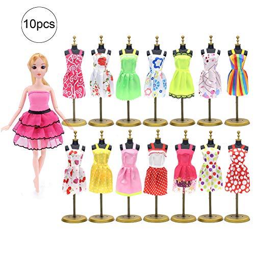 10pcs Kleider für Barbie-Puppe-Partei-Kleid kleidet Kleid Mode-Kleidung für Barbie-Puppen Mädchen Weihnachten Geburtstags-Geschenk (Random Style)
