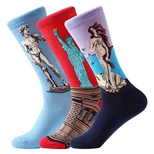 FLYCHEN Herren socken Van Gogh Socken Künstlerische Socken Weihnachten socken Kunstliche socken|Baumwollsocken 3er-Pack (EU37-45)