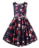 Kidsform Mädchen 1950er Vintage Retro Kleid Hepburn Stil Kleid Blumen Rock Taufkleid Kinder Geburtstag Kleid Roter Blumenstrauß 5-6Y