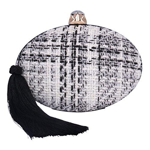 Damara Damen Flechten Cltuch Quaste Strasstein Handtasche In Ellipse Form Schwarz