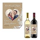 10 x Flaschenetikett Hochzeit Aufkleber Etikett selbstklebend - Rustikal Kraftpapier Look
