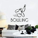 Tianpengyuanshuai Stickers muraux en Vinyle Bowling Sport Divertissement Loisirs Club décoration Autocollant Lettrage Amovible Murale 85x85 cm...
