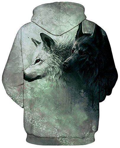 Bettydom Herrn Slim Fit mit bunt 3D Aufdruck Geschmack Weihnachten Unisex Sweatshirt Kapuzenpullover Hoodies Langarm Top Jumper Shirt Wolf 4