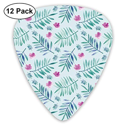 Sweet Hawaii Jungle Tropical Garden Theme Palm Leaves And Floral Watercolor Illustration Blue Pink_1678 Classic Celluloid Picks, 12-Pack, For Electric Guitar, Acoustic Guitar, Mandolin, And Bass
