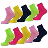 sockenkauf24 10 Paar Kinder Socken Jungen & Mädchen - versch. Farben und Größen - Baumwolle - 50005 (31-34, Helle Farben)