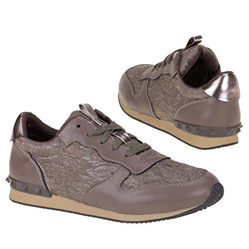 Ital-Design, Sneaker donna Marrone (Marrone/Grigio)