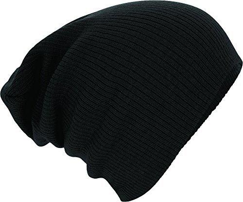 Slouch-Beanie-Winter-Skimtze-gerippt-Farbe-black