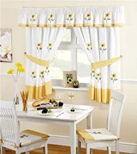 Sunflower Pencil Pleat Headed Kitchen Curtains and Tiebacks, Yellow/White, 46 x 48-Inch