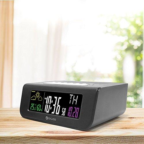 Reloj despertador digital inalámbrico Digoo DG-FR100 SmartSet Pronóstico meteorológico...
