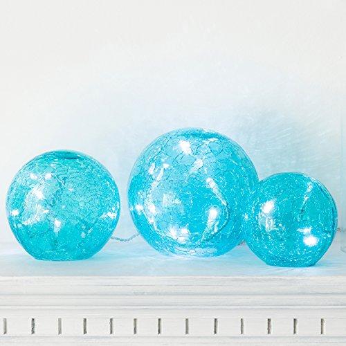 3er Set LED Glaskugeln türkis batteriebetrieben (Türkis Leer)