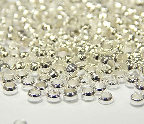 Perlin - 700stk Quetschperlen 2mm Kugel, Verbinder Crimps Messing Metall Beads METALLPERLEN RUND Silber PERLEN M167 x2 - Perlen Silber Perler