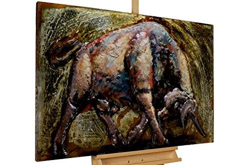 Kunstloft Extravagante Relieve Pared Metal Toro' 120x80x8cm