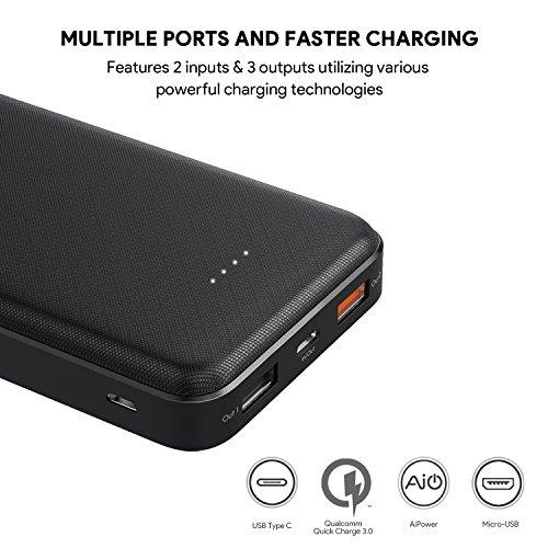 Aukey USB-C Powerbank 20000mah Anschlüsse