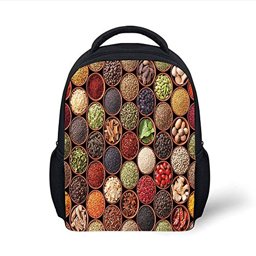 Kids School Backpack Kitchen,Colorful Herbs and Spices Cardamom Pepper Chili Ginger Dill Natural Cuisine Print,Multicolor Plain Bookbag Travel Daypack -