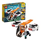 LEGO 31071 Creator 3in1 Drone Explorer Swamp Boat and Propeller Plane Model Building Set, Toys for Kids 6-12 Years Old