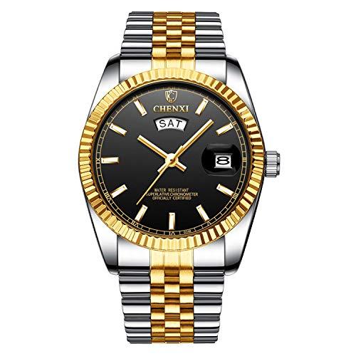 XLORDX Herren Armbanduhr Wasserdicht Woche Datum Analog Quarz Gold Uhr mit Edelstahl Schwarz (Gold-analog-herren-uhr)