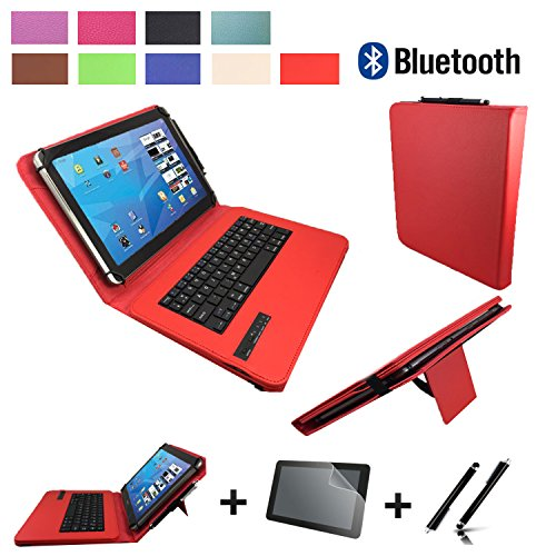 3in1 Starter set für Archos Diamond Tab (2017) Bluetooth Tastatur Hülle | Schutz Folie| Touch Pen | 10.1 Zoll Rot Bluetooth 3in1
