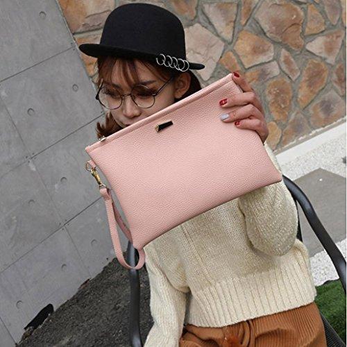 BYSTE Moda Donna Borsa a frizione Borsa di pelle Femmina Frizioni borsetta Rosa