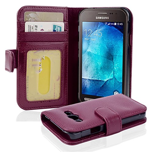 Cadorabo Hülle für Samsung Galaxy Xcover 3 - Hülle in Bordeaux LILA – Handyhülle mit 3 Kartenfächern - Case Cover Schutzhülle Etui Tasche Book Klapp Style