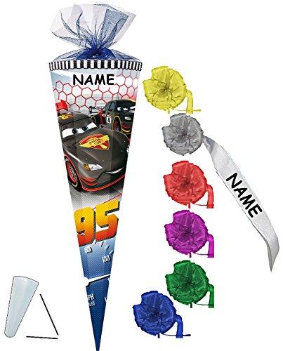 Schultüte -  Disney Cars - Carbon - Lightning McQueen  - 22 cm - rund - incl. Namen und individueller Schleife - mit Tüllabschluß - Zuckertüte - mit / ohne .. ()
