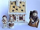 Wieschalla-Design Keramik Hexenhaus mit Hänsel und Gretel für Teelicht Kerze Knusperhäuschen