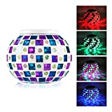 EgoEra® Bright Solar Lawn LED Light Mosaic Glass Ball Jar Garden Patio Color Changing Table Lamp Waterproof Indoor Outdoor Night Light, Decoration, Gift Best choice, Style B