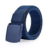 ITIEZY Herren Jeans Gürtel Canvas Belt Webbing Gürtel- Gr. 125cm, Tiefblau/Blau