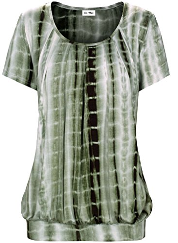 KorMei Damen Casual Tunika Kurzarm Tunikashirt T-Shirt Falten Tops mit Stretch Rundkragen Tie Dye Grün M (Damen Dye Tie Grüne T-shirt)