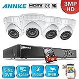 ANNKE 8CH 3.0MP DVR Kit videovigilancia Sistema de 4 Cámaras de seguridad 3MP con 2TB Disco duro...