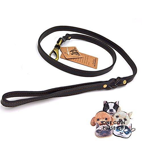 petfun Handarbeit Leder Hund Leine für Walking und Tracking mit geflochtenem Griff und Messing Karabinerhaken, variieren Farbe schwarz und braun (Kalbsleder Schwarze Handarbeit)