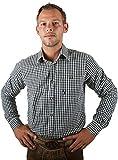 Almwerk Herren Trachten Hemd kariert Modell Ottmar 100% Baumwolle in Rot, Tanne, Schwarz, Dunkelblau, Hellgrün, Bordeaux, Hellblau und Braun, Farbe:Schwarz;Größe:L