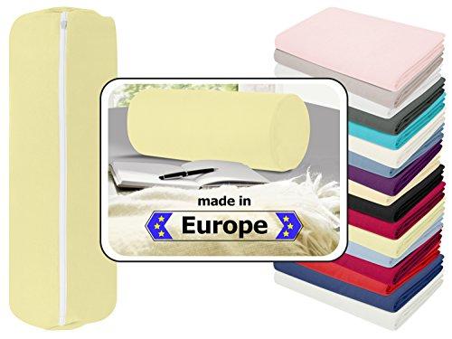 Nackenrolle in 3 verschiedenen Qualitäten oder Jersey-Kissenhülle für Nackenrollen in 17 Farben - 100% Mako-Baumwolle - Einheitsgröße ca. 40 x 15 cm, Bezug in vanille
