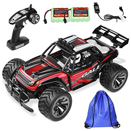 KJZEEX Fernbedienung Auto, RC Auto Monster Truck 2WD 2,4 Ghz Offroad Rennwagen 1: 16 RC Auto mit 2 Akkus und Pflegetasche
