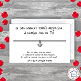 Carte de voeux JE SUIS AMOUREUSE + Bracelet porte-bonheur 1 ancre INOX + enveloppe - Fabriqué en France - Idée cadeau original pour dire Je t'aime Homme - St Valentin - Noël - Anniversaire