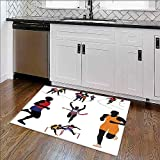 ziHeadwear Home Décor Rug Runners in Campus Fitness Sporty Energetic Movement...