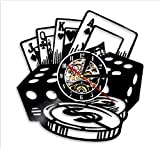 Txyang 1Piece Porker Game Home Decor Vinyl Record Wall Clock Texas Holdem Professional Poker Card Decorative Clock Led Light Wall Art