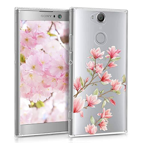 kwmobile Sony Xperia XA2 Hülle - Handyhülle für Sony Xperia XA2 - Handy Case in Rosa Weiß Transparent