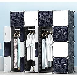 PREMAG Armario portátil para Colgar la Ropa, ropero Combinado, Armario Modular para Ahorrar Espacio, Ideal Organizador de Almacenamiento Cubo para Libros, Juguetes, Toallas (16-Cube)