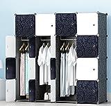 PREMAG Kunststoff Kleiderschrank Garderobe für hängende Kleidung, Kombischrank, modularer Schrank für platzsparende, ideale Aufbewahrung Organizer Cube für Bücher, Spielzeug, Handtücher(16-Würfel)