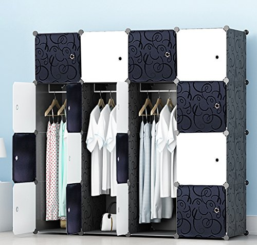 PREMAG Kunststoff Kleiderschrank Garderobe für hängende Kleidung, Kombischrank, modularer Schrank für platzsparende, ideale Aufbewahrung Organizer Cube für Bücher, Spielzeug, - Kleiderschrank Kunststoff