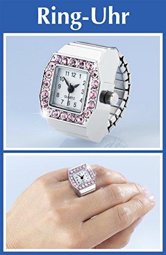 Wenko-Ring-Uhr-Die-originelle-moderne-Finger-Uhr-mit-Acryl-Steinchen-Mit-exiblem-Stretch-Band-silber-pink