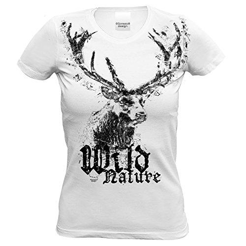 Mädchen Damen Frauen T-Shirt - Trachten Oktoberfest Wiesn Platz Hirsch Shirt - Wild Nature cooles Outfit für Volksfest Party Besucher - Geschenk Idee Jäger - Farbe: weiss Gr: S