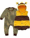 Kidsform Baby Unisex Bodysuit Overalls Jumpsuit Playsuits Kleidung Set mit Weste Gelb 18-24M