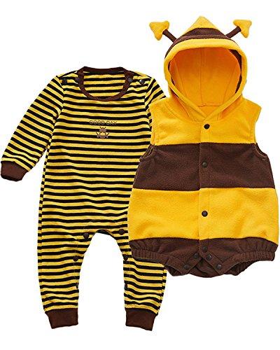 Langarm Bodysuit Overalls Jumpsuit Playsuits Kleidung Set mit Weste Yellow 9-12M ()