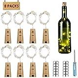 Flaschenlicht 8er 15 LED Korken mit Kupferdraht, PREUP LED Lichterkette Glaslicht mit 36 Batterien, romantische Beleuchtung/Geschenkidee/Deko für Weinflasche DIY Party Hochzeit (warmweiß)