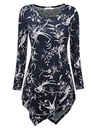 BAISHENGGT T-shirt a collo rotondo Manica lunga - Donna Blu Floreale XX-Large
