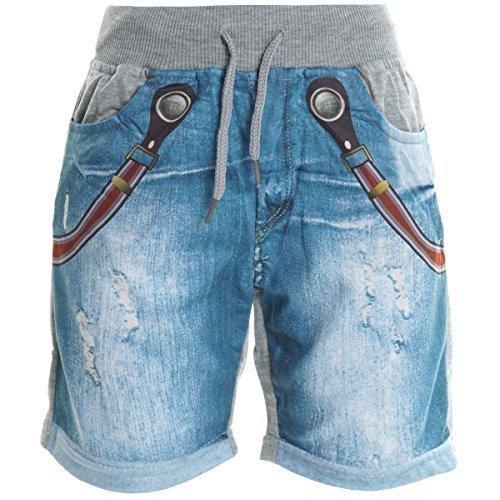 Ragazzo Bambino Cargo Pantaloni Corti Bermuda Shorts Capri Vintage Sport Elastico 20412 - grigio, 8 Anni / 128