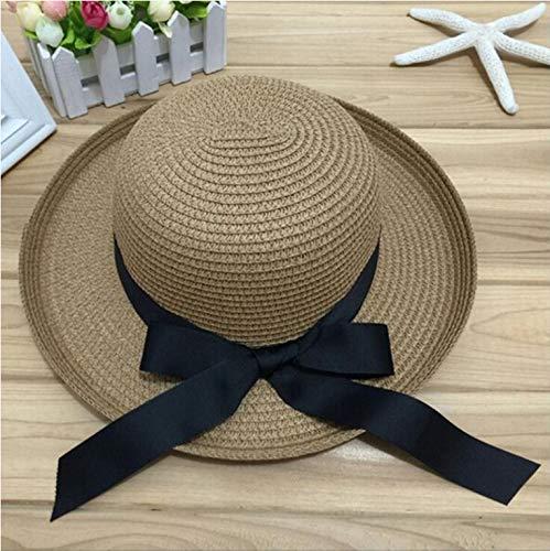 DongOJO Sombrero de Sol de Verano para Mujer Sombrero Negro Cinta con Solapa Sombrero de Paja Sombrero de Playa Cabeza Círculo