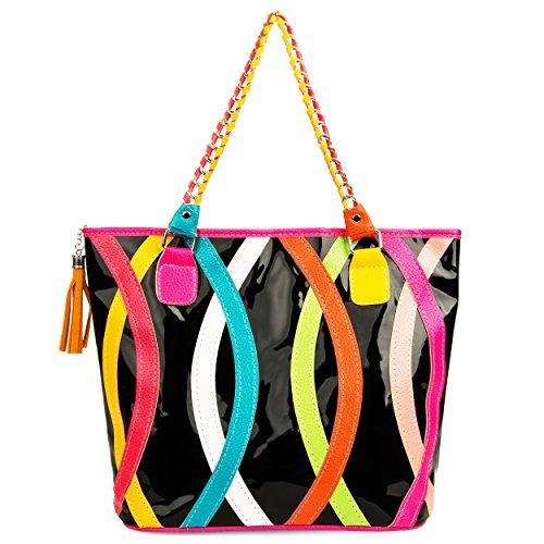 VanGoddy , Damen Tote-Tasche Mehrfarbig Rainbow Arc (Tote-taschen Executive)