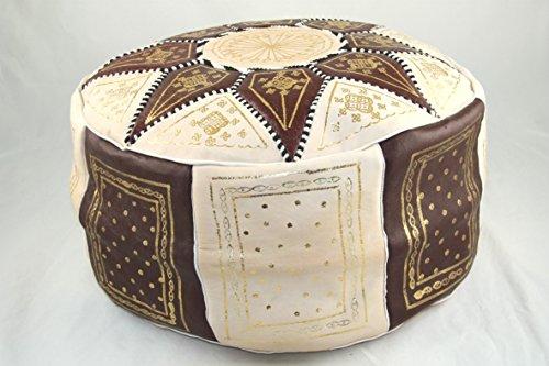 Hecho a mano de piel auténtica marroquí puf reposapiés, color beige y marrón